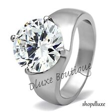 Women's Round Cut Solitaire AAA CZ Stainless Steel Engagement Ring Band Sz 5-10