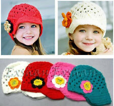 Child Kids Girl Handmade Crochet Flower Knitting Hat Cap Beret Hats Beanie Gifts