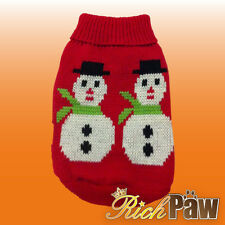 Christmas Dog Sweater - Red Snowman - Snowflake Winter Dog Jumper