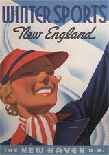 WINTER SPORTS NEW ENGLAND - 1937 - Vintage Railway Poster USA (SG5464)