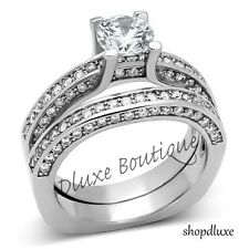 3.40 Ct Round Brilliant Cut AAA CZ Stainless Steel Wedding Ring Set Size 5-10