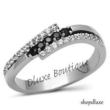 Women's Black & Clear AAA CZ Stainless Steel Wedding Fashion Ring Band Size 5-10