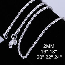 In Bulk 20/50/100pcs Silver Necklace 2mm Rope Chain Fits Pendants 16-24inch