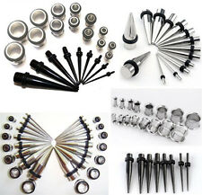 Bulk Lots Acrylic Taper Stretcher Steel Plug Ear Tunnel Kit Set Expander