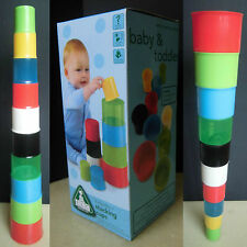 ELC Baby STACKING MULTI-COLORS CUPS Basic Stack Game Bath Toys - New
