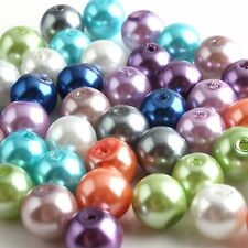 85pcs Round Mixed Color Jewelry Makeing Pearl Glass Loose Spacer Beads 10mm Dia