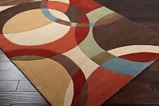Plush Wool Contemporary Area Rug Carved Rectangle Round Brown Sienna Beige Gray