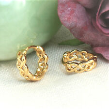 18K Gold Filled Filigree Plaited Huggie Hoops Earrings,12mm