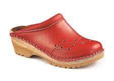 TROENTORP BASTAD SWEDISH WOODEN CLOGS - O'KEEFE RED - MADE IN SWEDEN