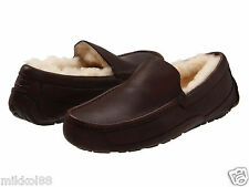 UGG Australia Men's Ascot Moccasin Slippers 5379 China Tea or Black Leather NEW