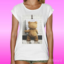"""T-SHIRT BIANCA DONNA """" ORSO TED FILM BEAR BEER """" IDEA REGALO ROAD TO HAPPINESS"""