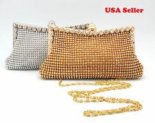 Elegant Bling Bling Rhinestones Silver Frame Clutch Party Purse Evening Bag NEW