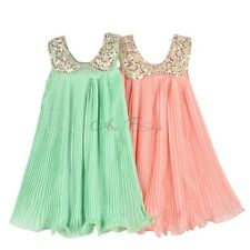 NWT Girls Vintage Sequins Collar Pleated Chiffon Flower Party Dress SZ 3 4 5 6 7