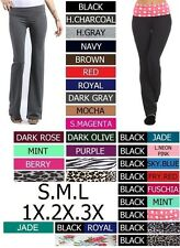MANY COLORS Cotton Long Fold Over Yoga Workout Pants Sizes S M L