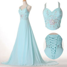 Formal Evening Long Gown Party Prom Ball Bridesmaid Dress Chiffon Sleeveless NEW