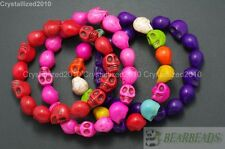 Colorful Howlite Turquoise Gemstone Carve Skull Beaded Stretchy Bracelet 7.5""