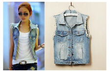 New Womens Frayed Personalized Cardigan Denim Jean Vests Coats Outerwear 5 Sizes