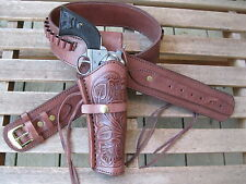 Cartridge Gun Belt Combo - .38 Cal Tooled Holster- Leather- Brown - Specify Size