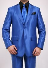 Men's Sharkskin Royal Blue Shiny Suit