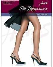 Hanes Silk Reflections Non-Control Top, Sandalfoot Pantyhose 4-Pack style 715