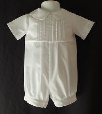 Infant Baby Boys White Christening Romper Baptism Outfit   Size 0- 12  Months