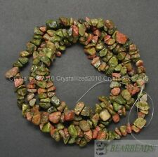"Natural Unakite Jasper Gemstone 5-8mm Chip Nugget Loose Spacer Beads 35"" Strand"