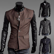 Men's New Fashion Mixed Color Slim Single-Breasted Dress Casual Suit Blazer Coat
