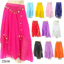 JYQ08# 1 pc Chiffon Golden-Color Coins India Belly Dance Long Skirt