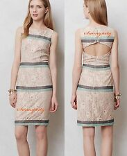 NEW Anthropologie Rosegold Lace Shift By Maeve sz L Gorgeously Elegant Rare