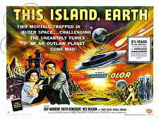 PLAQUE ALU DECO REPRODUISANT AFFICHE CINEMA SCI FI  THIS ISLAND EARTH UFO SPACE