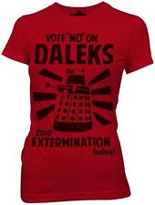 Doctor Who Vote No on Daleks Dr. BBC TV Womens Blend Fitted S-XL T Shirt