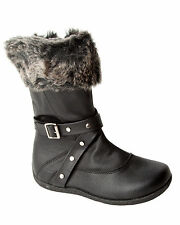 GIRLS BLACK FAUX FUR CUFF MID CALF BUCKLE WINTER BOOTS WITH SIDE ZIP UK 11-2