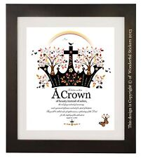 Isaiah 61 v 3, Bible Verse Quote, A Crown of Beauty, Christian Gift, Art Print