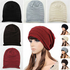 Unisex Mens Womens Winter Knit Hat Cap Ski Knitted Oversized Beanie Hat Warm NEW