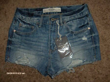 NWT $58 ABERCROMBIE & FITCH DESTROYED DENIM SHORTS