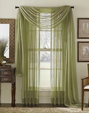"""1 Elegance Sheer valance scarf voile Window treatment covering 216""""- 10 colors"""