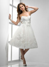 White or Ivory Knee Length Short Wedding Dress Bridal Gown Custom or Petticoat