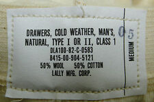 GOVERNMENT ISSUE MEN'S COLD WEATHER DRAWERS LONG JOHNS WOOL/COTTON MEDIUM NEW
