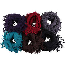 6Color Women Cute Fringe Knit Crochet Infinity Cowl Circle Scarf Loop Wrap Shawl