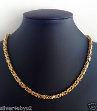 Gold Plated Stainless Steel Byzantine Box Chain and Bracelet set 4.7mm width