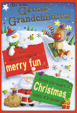 for you / the GREAT-GRANDCHILDREN cute Christmas card 4 x cards to choose from!