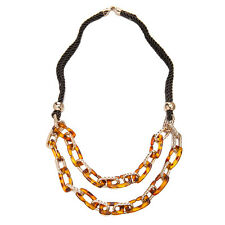 Janeo Tortoise Shell Rose Gold Links Fashion Necklace Christmas Gift For Her £6