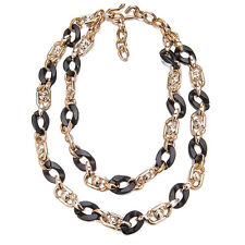 Janeo Jet Black Shell Rose Gold Chunky Links Necklace Christmas Gift For Her £6