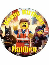 30-10000 Pre-Cut Edible Wafer Cupcake Cake Toppers Lego Movie add your name