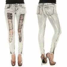New bleached grey ripped and frayed low-rise stretchy skinny jeans