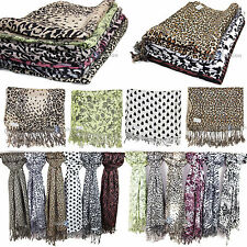 Ladies Celebrity Style floral & animal leopard print Shawl Scarf Wrap Pashmina