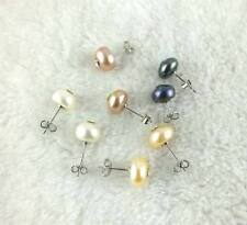 Charming 8x10mm Rondelle Freshwater Pearl Earnnings 1 pcs