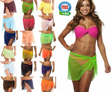 swimwear wrap bikini cover up sexy sarong pareo SHORT MESH beach swimsuit sheer