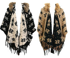 Ladies Womens Black/ Beige Aztec Faux Fur Collar Hooded Cape / Poncho Winter
