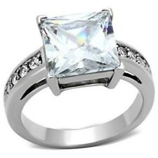 Large 4.6Ct Princess Cut CZ Stainless Steel Womens Engagement Ring SZ 5-10